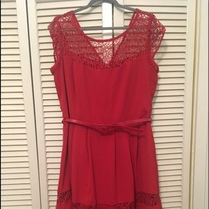 City Chic red dress with lace panels & belt 14 (S)